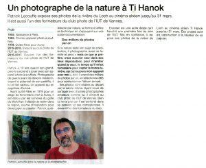 Ti Hanok (Auray) Patrick Lecouffe Exposition Au Fil du Loc'h - Ouest France