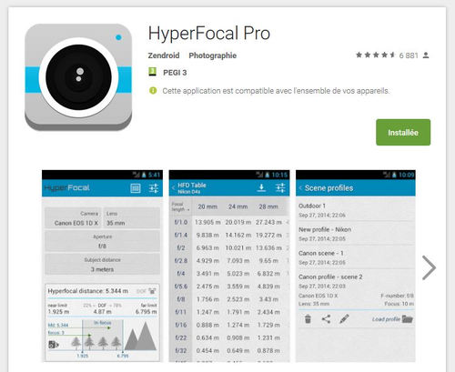 HyperFocal Pro sur Google Play