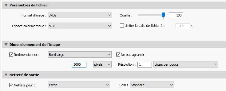 Exporter un fichier avec Lightroom